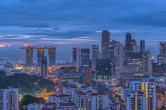 Cityscape at Dawn (Edward Tian) Tags: travel horizontal skyline architecture skyscraper sunrise photography singapore cityscape citylife cbd bluehour development capitalcities traveldestinations buildingexterior 2013 highangleview traveldestination singaporecity builtstructure artsciencemuseum cloudforestdome