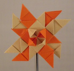 Orange Yellow windmill (lacecrazy) Tags: paperfolding paperstrips orangeandtan foursidedstars