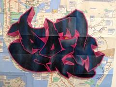 Poem one subway map art. (Droppin Bombs) Tags: streetart stencil oldschool stencilart nycgraffiti graffititrain poemgraffiti poemoneart