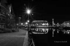 Waterfront Hall BW (CharlesM-2) Tags: ireland bw night reflections river waterfront belfast northernireland lagan charlesm shadowpm2