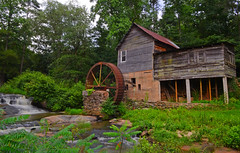 Laudermilk Mill (davidwilliamreed) Tags: wood old roof abandoned water wheel metal creek tin rust long exposure decay rustic neglected rusty forgotten weathered siding crusty