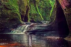 Tranquility - Finnich Glen in Summer (velton) Tags: autumn white wet water canon river landscape lumix sco