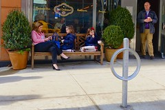 family girls newyork coffee bench children manhattan father daughters husband uppereastside streetsofnewyork santambroeus everyblock