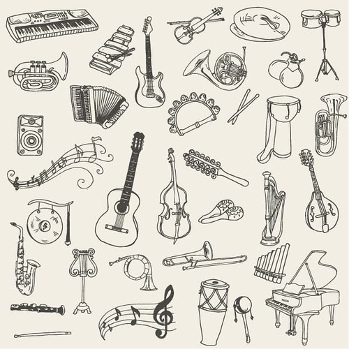 music art silhouette electric set illustration painting cord design sketch concert keyboard graphic symbol wind drum guitar drawing percussion cartoon piano trumpet jazz icon line equipment entertainment musical doodle violin sound instrument acoustic string classical horn outline maracas harp tambourine shape brass vector saxophone element handdrawn
