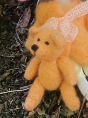 needle felted orange bear