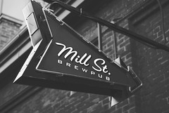 Mill St. (madwarr) Tags: winter light summer blackandwhite stilllife food sun toronto canada black blur brick beautiful architecture female night vintage buildings lunch 50mm spring blurry nikon pretty distillerydistrict bokeh outdoor district air young oldschool retro fixed shallow grainy nikkor 18 amateur distillery foodie 18mm d3000 nikond3000