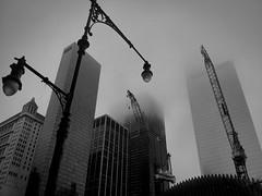 Foggy NYC Morning - Taken from Nexus 4 (Suraj Bajaj) Tags: new york nyc morning blackandwhite bw usa newyork buildings blackwhite downtown foggy wtc construcion phonography