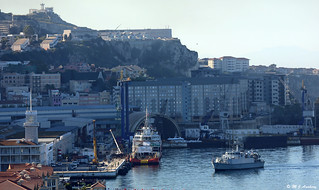 Royal Navy Mine Counter Measures Vessel HMS Blyth (M111) prepares to berth by The Tower, HM Naval Base, Gibraltar