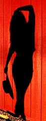The Color of... (MyMoralAmnesia) Tags: old shadow red portrait black color cute sexy hat lady female barn pose photography gold idea photo model cowboy image body country creative picture hips rush figure era western form cowgirl curve shape inspire edit