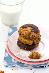 oatmeal cookies with chocolate (Zoryanchik) Tags: food brown white macro cookies dessert photography healthy cookie image sweet chocolate background rustic cereal fresh stack gourmet oatmeal health homemade snack chip oat freshness baked