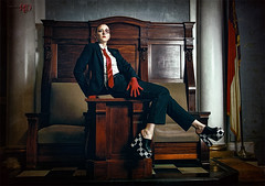 House of Lords (Spoken in Red) Tags: britain columns flags podium powerful androgyny annielennox houseoflords redtie menswear checkeredfloor powerfulwoman fashionportrait redgloves powerred dominatingwoman rulingclass checkeredshoes spokeninred