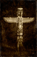 Vancouver Totem (EdBob) Tags: park wood travel blackandwhite bw art history texture sepia vancouver woods bc artistic native totem carving historic pole pacificnorthwest totempole destination stanleypark daguerreotype authentic textured firstpeoples indiginous edmundlowephotography