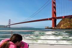 The World's Most Beautiful Bridge (JasonCameron) Tags: world california bridge pink orange girl metal golden bay boat gate san francisco suspension famous landmark