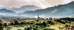 Styrian Landscape (Bernd Thaller) Tags: mountain painterly mountains church landscape austria sterreich village graphic bright outdoor hill hills serene mountainside steiermark styria thal at sanktoswald plankenwarth gemeindethal