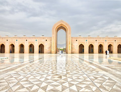 Last One Out (Stuck in Customs) Tags: door sky orange brown white black color colour horizontal clouds outside outdoors temple gold grey worship day pattern outdoor religion rr stormy mosque doorway symmetrical daytime archway february oman muscat hdr pathway trey grandmosque ruleofthirds 2016 ratcliff hdrphotography hdrphoto stuckincustoms p2016 treyratcliff stuckincustomscom