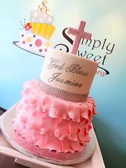 Communion Cake (Simply Sweet Creations) Tags: christeningcake baptismcake religiouscake communioncake pinkchristeningcake fondantrufflecake pinkbaptismcake pinkcommunioncake fondantpetalcake