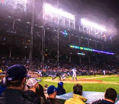 Night Game (Wes Iversen) Tags: chicago painterly sports photomanipulation lights illinois baseball wrigleyfield spectators chicagocubs baseballcaps wrigleyville sportsfans helmets umpires hss baseballplayers dexterfowler nikkor18300mm sliderssunday