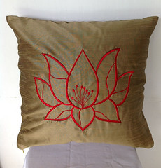 Embroidered Brown Decorative Pillow, Brown Decor, Brown Home Decor, Cushion Cover 18x18, Flower Embroidered Pillow cover (Snazzy Living Home Decor) Tags: couplesgift pillows gifts dormdecor embroidered 18x18