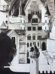 Schloss Neuschwanstein, Architectural Study, Charcoal, 18x24, Fatima Pimentel. (Cavalier Art RM 204) Tags: graphite self portrait student art selfie expression expressive selfportrait charcoal cityscape nocturne watercolor automotive painting acrylic oils oilpaint acrylicpaint tempra posterized high contrast surreal people indoor line quality linequality linedrawing okura cavs cavalier cavaliers santiago shs room 204 rm204 rm