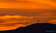 Le crpuscule et les hlices. (Bouhsina Photography) Tags: sunset sky orange mountain color clouds montagne canon wow outside vent wind silhouettes morocco maroc marruecos brilliant couleur ttouan turbines tetuan hlices brillant palmes bouhsina 5diii ef100400ii bouhsinaphotography