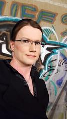 Selfie (Rikky_Satin) Tags: glasses office silk blouse tgirl transgender business trenchcoat transvestite secretary satin crossdresser