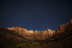 Zion Under the Stars (Vision & Light Photo) Tags: blue sky southwest color nature beauty night clouds sunrise stars landscape outdoors photography landscapes utah photo nationalpark twilight scenery desert fineart towers scenic peaceful canyon photograph midnight moonlight zion serene wilderness zionnationalpark cloudscape rugged fineartphotography towersofthevirgin
