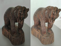 Carved Wooden Bear 1 3D Cross View (HDR) (JonGames) Tags: bear wood sculpture brown animal mexico wooden stereogram 3d cross carving carve grizzly chisel etch hdr