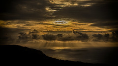 Corsican sky (stephanlam) Tags: sunset sky sun mountain clouds rays sunrays cloudporn sunbeams corisica