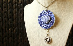 Large blue ceramic textured disc with blue heart pendant with tea cup dangling below (Suzie the Foodie www.suziethefoodie.com) Tags: blue cup ceramic with heart tea large below disc dangling pendant textured belue