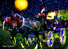 Night Ride (brillianthues) Tags: horses moon collage night photoshop photography colorful carriage wheels photmanuplation