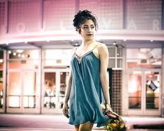 movie night.. (soul pixie) Tags: flowers woman canon hair marquee lowlight dress windy nighttime movies date breeze undo kearstenpetralederphotography