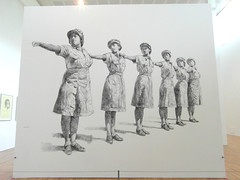 Lining Up (bryanilona) Tags: art wall artwork mac birmingham drawing exhibition charcoal shockandawe cannonhillpark midlandsartscentre explored finissage barabarawalker
