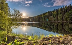 Against the light at Pikku-Ahvenisto lake, Tampere, Finland (mattiharo) Tags: blue sunset summer sky sun lake nature water clouds forest finland landscape pond