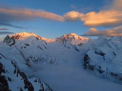 Monte Rosa sunset (lvalgaerts) Tags: sunset snow mountains alps clouds landscape schweiz switzerland spring rosa glacier gornergrat zermatt matterhorn monte gletscher lenticular dufour cervino gorner