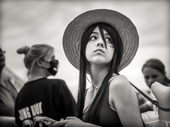 scarface (.candid.1) (grizzleur) Tags: street portrait bw woman cute girl monochrome beautiful hat japan lady hair photography mono eyes pretty candid lookingup nostalgia melancholy f18 dusseldorf dsseldorf scar duesseldorf longing scarface japantag japanday fullyopen  olympusm45mmf18 olympusomdem10mkii
