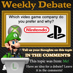 WEEKLY DEBATE- Which Video Game Company Do You Prefer and Why? (Luigi Fan) Tags: video sony nintendo xbox games microsoft e3 playstation
