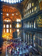 Light in the Hagia Sophia in Istanbul, Turkey (` Toshio ') Tags: light people turkey interior basilica istanbul mosque musuem hagiasophia iphone constantinople toshio xe2 fujixe2