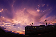 Minobu Line  (tenugui) Tags: sunset train twilight sundown railway  yamanashi