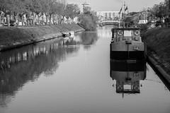 Canal in Gent (John fae Fife) Tags: city blackandwhite bw water monochrome canal belgium noiretblanc nb gent xe2 fujifilmx