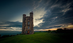 Tower Thunder (spiderstreaky) Tags: county blue red summer sky orange cloud sun abstract black building green tower castle english nature beautiful beauty yellow architecture breakfast clouds sunrise dark landscape golden countryside big high nikon focus exposure top wildlife horizon broadway cotswolds historic hills fields worcestershire footpath beacon hilltop folly goldenhour sunup lightroom cotswold cotswoldway d7100