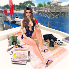 {Blog 28} Catching Some Rays (veronica gearz) Tags: life summer logo boat blog mesh yacht sandals avatar flamingo blogger avi blogs sl secondlife bloggers blogging second summerfest lupe trs reign 2ndlife gacha swinsuit redgrave icepop thearcade maitreya izzies tresblah lelutka secondspaces liasioncollaborative realevil kawaiiproject suecream koalificiationsrazberry
