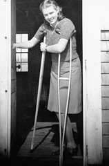 1930s polio girl with crutches (jackcast2015) Tags: polio infantileparalysis poliomylitis handicapped disabledwoman crippledwoman crutches