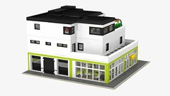 Motorgerte Fachhndler (Power Equipment Dealer) 1.0 02 (-Nightfall-) Tags: lego elevator modular moc powerequipment modularbuilding