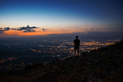On top of the world. (mariazaharievaPH) Tags: world city sunset sky sun mountain color night clouds person lights rocks sofia outdoor bulgaria human vitosha
