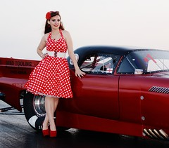 Holly_4705 (Fast an' Bulbous) Tags: girl woman car vehicle automobile hot sexy people outdoor drag strip race track santa pod england red dress shoes high heels stilettos stockings legs long hair beauty pose model polkadot hotty ford thunderbird supercharged 1955
