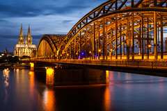 The Kolner Dom and the Hohenzollern Bridge (Brett Littleton) Tags: longexposure travel bridge architecture night nikon nightshot cologne kln bluehour klnerdom colognecathedral travelphotography hohenzollernbrcke hohenzollernbridge rokinon europebynight nikond7100 rokinon24mm