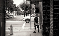 All I know Is This Corner 20/52 (Kpryor23) Tags: lighting street city travel trees light urban white black building art monochrome car sepia architecture composition project tampa photography mono tags monochromatic pole teenager week ybor popular 52