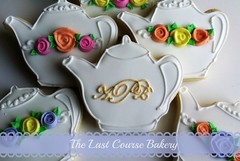 Teapot Cookies with roses and monogram (The Last Course Bakery) Tags: birthday wedding party flower cookies rose shower tea monogram teapot bridal decorated