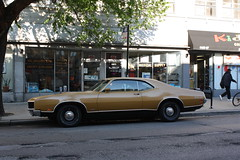 Force Of Nature (Flint Foto Factory) Tags: auto camera city urban chicago classic ford hardtop make car lights evening early store illinois spring automobile afternoon mercury muscle side parking profile north broadway may front medical uptown chrome american mustard late intersection montrose 1970 gt sheridan coupe cyclone v8 obsolete supply spoiler hubcaps fastback fomoco marque 2door orphaned 2013 sooc worldcars straightoutof