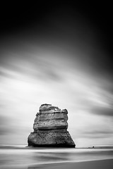 Solitary (thomp88(chasethemoments)) Tags: ocean road sky bw cloud white black beach water monochrome port canon mono drive long exposure streak great steps australia victoria 5d 12 greatoceanroad campbell gibson 12apostles apostles photgraphy apostle nd400 5dm3